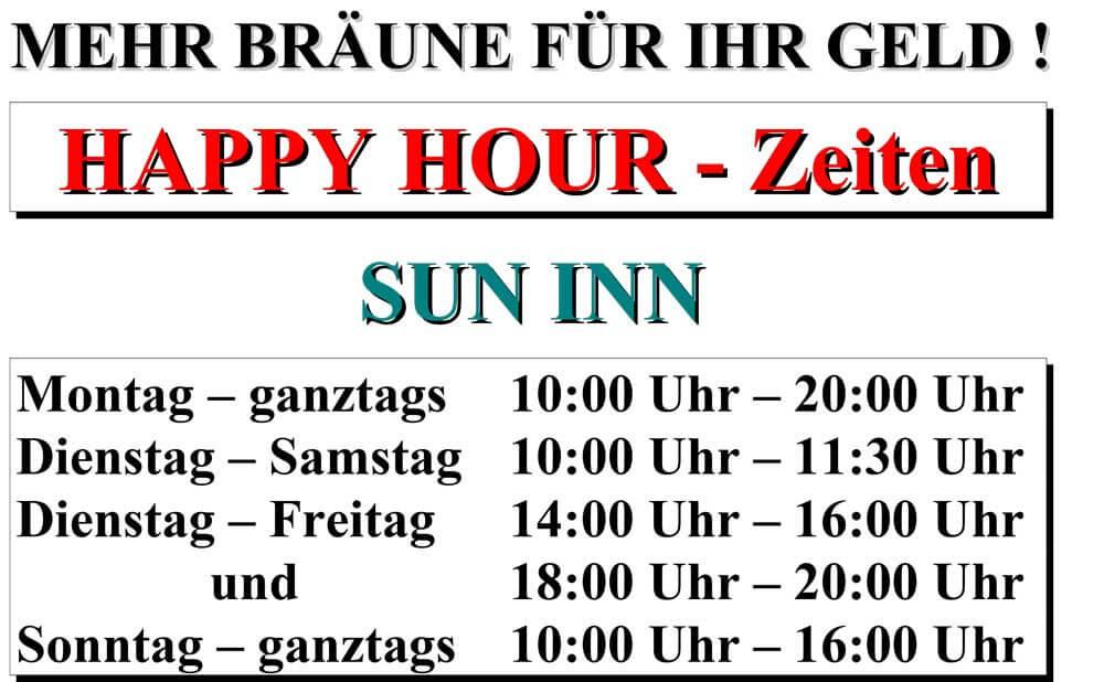 HAPPY HOUR Zeiten Sun Inn Sonnenstudio 1 - Happy Hour & Öffnungszeiten