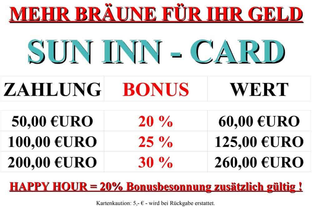 Sonnenkarte Sun Inn Sonnenstudio Würzburg - Sun Inn Sonnenstudio Würzburg
